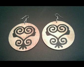 Sankofa African Woman Adinkra Wood Silver Hook Dangle Earrings