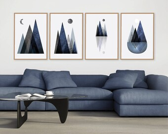 Set of 4 Prints, Downloadable Prints, Printable Art, Scandinavian Mountain Print, Mountain, Minimalist, Scandinavian Print, Wall Art, Poster
