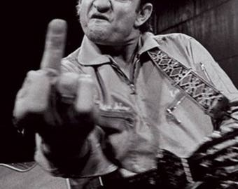 Back to School Sale: Johnny Cash at San Quentin Middle Finger POSTER