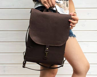 Solid Brown Waterproof Backpack, Bitter Choco Vegan Rucksack