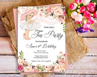 Tea Birthday Party Invitation, Pink Floral Girl Birthday Party Invitation, Girl Tea Party Invitation, Lace Invitation, Afternoon tea Party