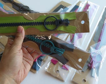 """New Design ~ Set of 10 YKK Cosed End Contrast Color Zippers with Giant Round/Ring Pull 10 colors 1pc each 