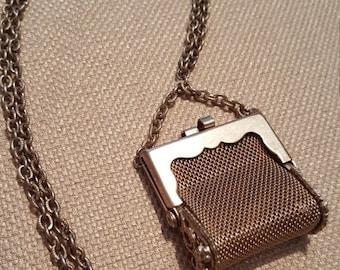 ON SALE : Vintage Goldtone Necklace Purse Very cute