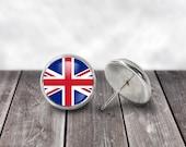 Union Jack Earrings, 12mm Stud Earrings, World Flags, UK Flag, Great Britain