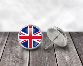 Union Jack Earrings, 12mm Stud Earrings, World Flags, UK Flag, Great Britain