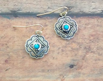 Scalloped Edge Silver/Turquoise Earrings