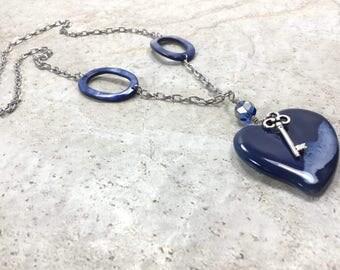 Blue Glass Heart Necklace, 25mm Blue Heart,