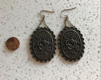 """Oval Metal """"Tapestry"""" Earrings"""
