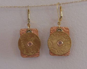 Copper And NuGold Textured Riveted Earrings