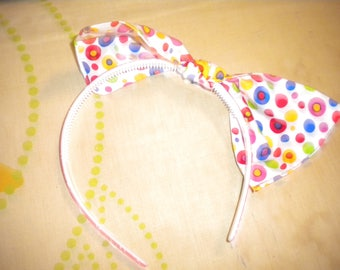 made in printed cotton bow headband