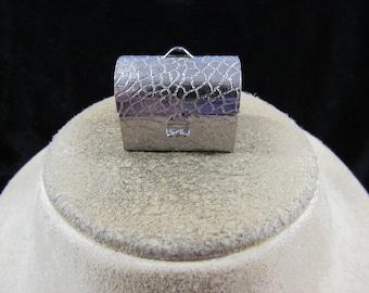 Vintage Silvertone Chest Trinket Box Pendant