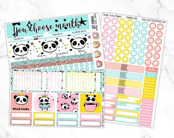 Monthly View Stickers | Panda Life | Fits Erin Condren LifePlanners | Monthly Spread | Monthly View Kit | Monthly Kit | Panda Stickers