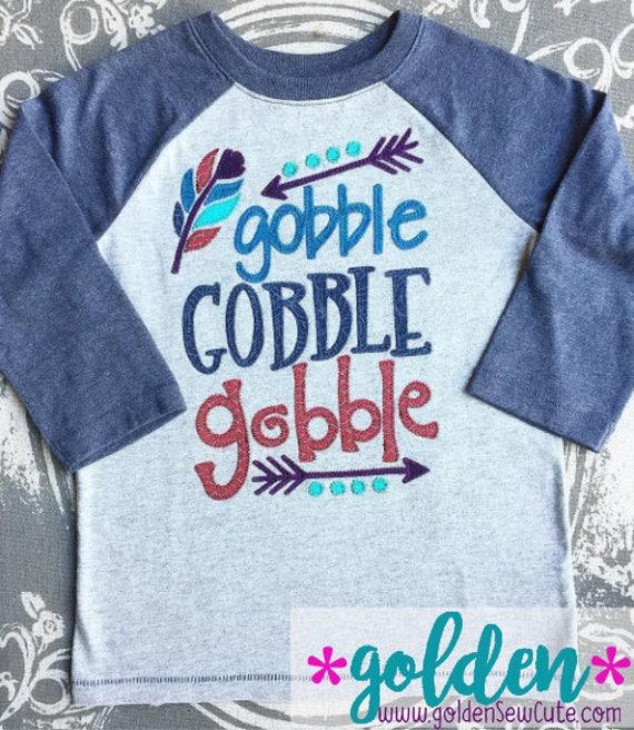 Thanksgiving Gobble Gobble Gobble!  Turkey Arrow and Feather Tee, Bodysuit, Onesie, Dress, Tutu, Shirt, TShirt