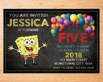 Spongebob invitation, SpongebobParty, Spongebob birthday invitation, Spongebob instant download, Spongebob invite, Spongebob DIY, Spongebob