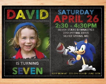 Sonic Birthday Invitation, Sonic invitation, Sonic , Sonic The Hudgedog, Sonic Personalized Birthday Invitation, Sonic Digital Invitation