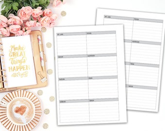 A5 WO1P printable planner insert - lined - undated - Filofax A5 - Kikki K Large - print at home - planner refill - weekly agenda