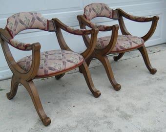 Pair Of Vintage MCM Spanish Revival Drexel Heritage X Frame Chairs