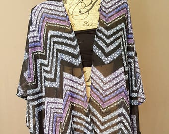 Sale! Sheer Zigzag Print Kimono Cover up  (purple, blue, black)