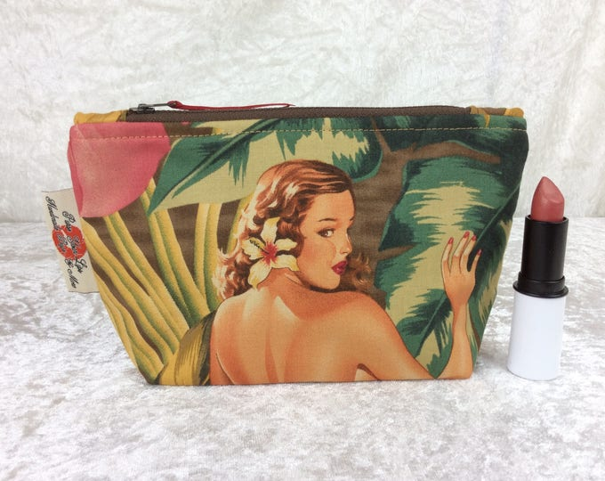 Burlesque Pin Up Zip Case Bag Pouch fabric Alexander Henry design Handmade in England