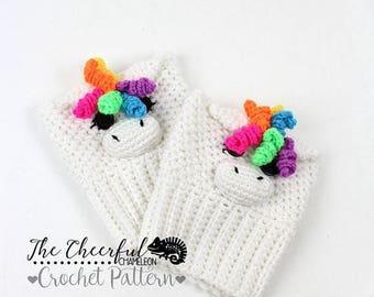 Crochet Pattern - Boot Cuff Pattern - Unicorn Pattern - Horse Pattern - Kids Boot Cuff Pattern - Adult Boot Cuff Pattern - Instant Download