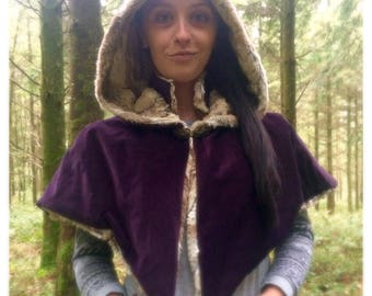 Collar and hood capelet, hooded cape, collar cape, hood and collar cloak, handmade capelet, purple capelet, faux fur cape, wedding capelet,