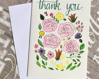 Original hand-painted watercolor card / Thank you card / Floral card / Flower card, NOT a print