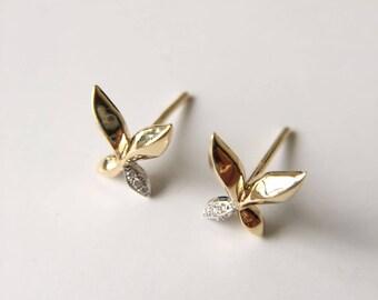 Butterfly Earrings Diamond Earrings Yellow Gold Earrings Stud Earrings Leaf Earrings Diamond Stuff Earrings Yellow Gold Stud Earrings