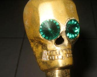 "Brass Vintage Skull Head Cane 37"" Long total length"