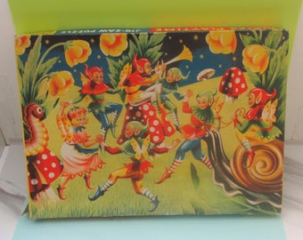 Vintage 1950s Pixies Playtime Jigsaw Puzzle - Complete in Box