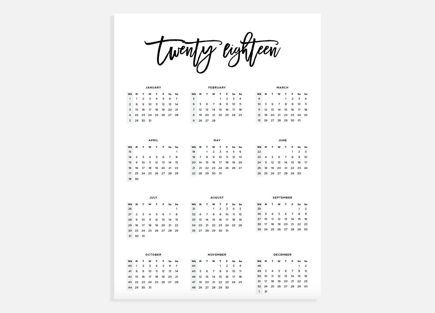 2018 Calendar A3 Calendar With Week Numbers 2018 Year
