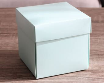 """Single Wedding Cupcake Boxes, Large Blue Green Favor Boxes, Party, Birthday, Baby Shower gift, Candy Box Inserts, 10 boxes 4x4x4"""""""