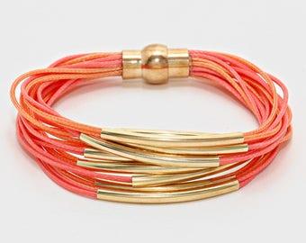 Coral & Gold Curve Tube Multi Strand Magnetic Bracelet