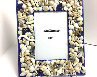 Cobalt blue, seashell picture frame, picture frames, blue decor, beach house decor, seashell picture frame, great Mother's Day gift!