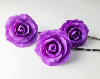 Dahlia Purple Roses. Rose Hair Pins. Set of 3. Polymer Clay Roses. Hair Accessories. Gift for Her. Bridesmaid's Gift. Handmade Jewelry