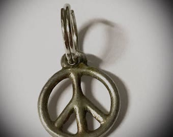 vintage silver peace sign charm small silver metal peace sign pendant