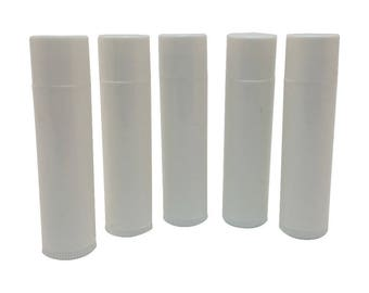 Set of 50 Empty Lip Balm Tubes Lip Balm Containers WHITE