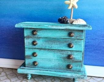 Miniature dresser, chest of drawers, dollhouse beach furniture