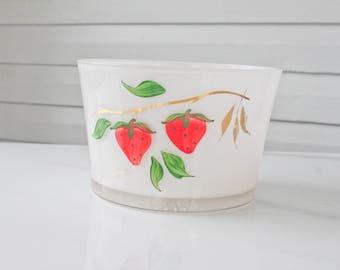 Vintage MCM Bartlett Collins Strawberry Ice Bucket-Holder-Glass Jar-Planter