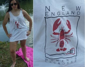 90s  New England Women's Lacrosse Tank Top Large, Cotton Tank Top,  Athletic Tan Top, New England,Beach Cover-up, Summer Tank Top, Vintage