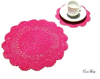 Set Hot Pink crochet doily and coaster, set centrino e sottobicchiere fucsia all'uncinetto