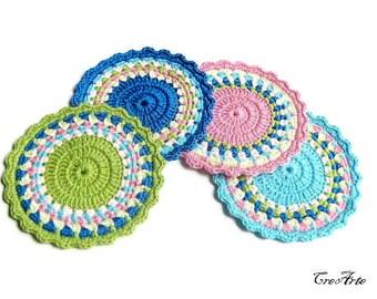 Set 4 colorful crochet coasters, set 4 sottobicchieri colorati all'uncinetto