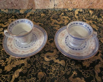Chinese Rice  Grain Hand Painted Blue,White,Red, Orange Gold Trim Porcelain  Tea Cups and Saucers Vtg Markings