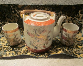 Japnese Satsuma Porcelain Teapot and 2 cups Bamboo Handle  Peacocks Hand Painted Details  1979  Arnart Inc Imports