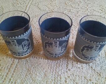 Currier Ives Riverboat Juice Glasses