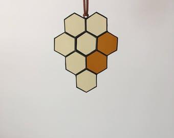 Mini Stained Glass Honeycomb Suncatcher