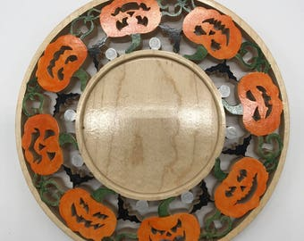 Painted Spooky Pumpkins Candle Ring - Maple