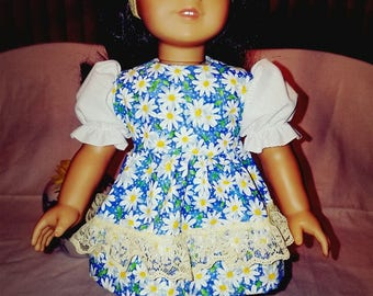"Dixie-crafted Daisys Dress designed to fit 18"" Dolls including those from the American Girl Doll Clothes Company"
