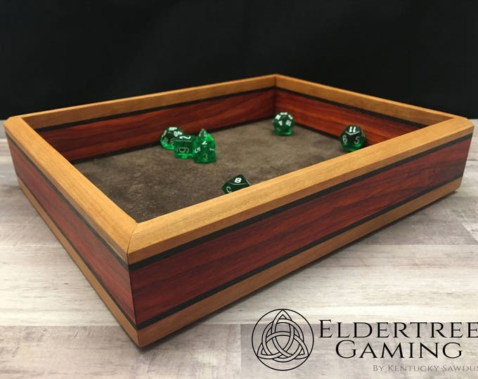 Featured listing image: Premium Dice Tray - Table Top Sized - Knight's Honor With Leather Rolling Surface - Eldertree Gaming
