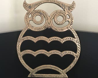 Solid Brass Owl Trivet