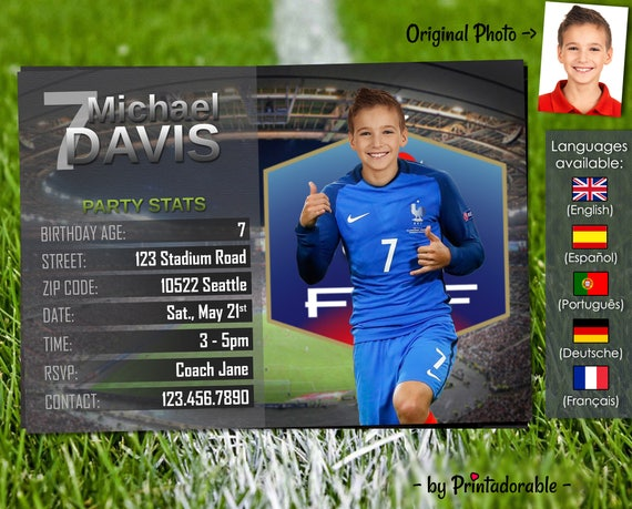 Soccer Invitation - France Football Invite - Digital Birthday Printables - Customizable face and team - Choose your team!